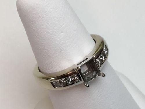 Diamond Ring Semi Mount 18K White Gold Mounting Invisible PRINCESS .30 CT VS1 EF