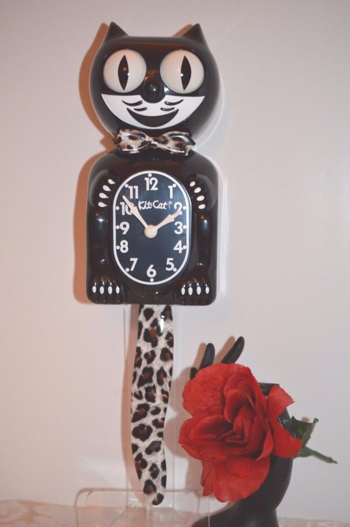Black Kit Cat Clock with Leopard Design Tail Made In USA Ship Priority in 24 Hrs