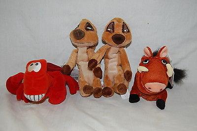 Disney World Bean Bag Toys:PUMBA, TIMTOM x2, SEBASTIAN Very Good Shape Lot of 4