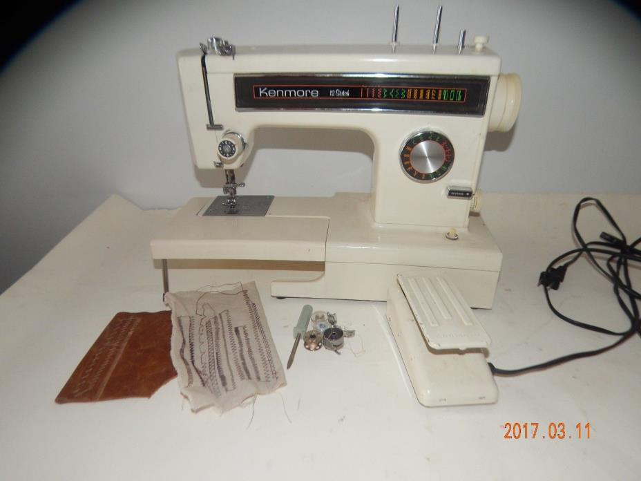 nt985) HEAVY DUTY Kenmore 158 12 stitch 1 amp free arm SEWING MACHINE, leather+