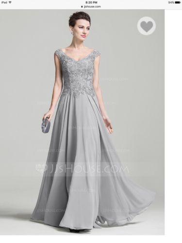 A Line Princess V Neck Floor Length Chiffon Dress Silver Gray