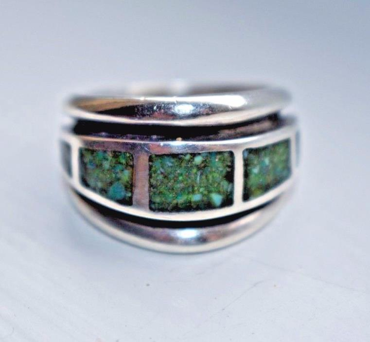 Vintage Sterling Silver SOUTHWESTERN Mosaic Green Turquoise Men's Ring Sz- 8.75