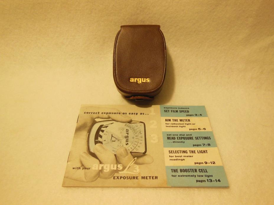 VINTAGE ARGUS L3 EXPOSURE / LIGHT METER GERMANY, LEATHER CASE, BOOKLET