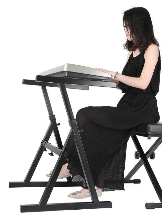 Piano Keyboard Stand or Sit Tray Music Electronic Adjustable Height Heavy Duty