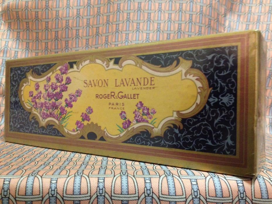 Vintage MID-CENTURY !! Lavande Perfumed Soaps SET 3 x 3.2 oz Roger & Gallet
