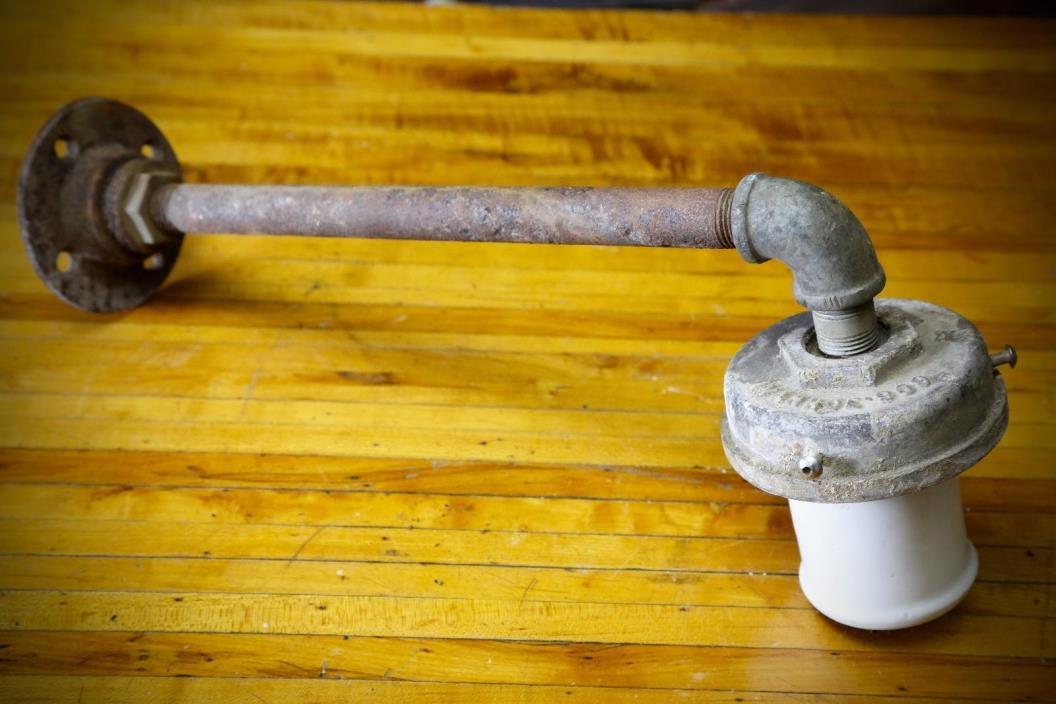 Vintage Industrial White Enamel Socket Light Bracket Pole Ivanhoe Gas Station