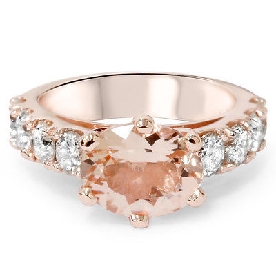 4ct Oval Morganite & Diamond Ring 14K Rose Gold