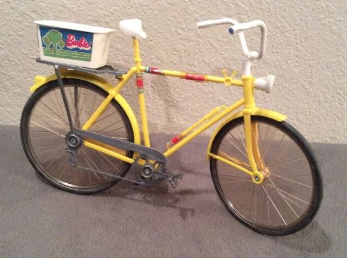 Vintage Doll Barbie Yellow Bike Bicycle with Basket