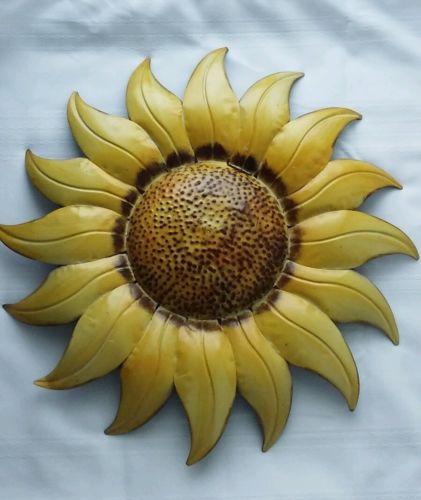Vintage Tin Metal Spring Flower Sunflower Lawn Garden Home Art Decor Hanging