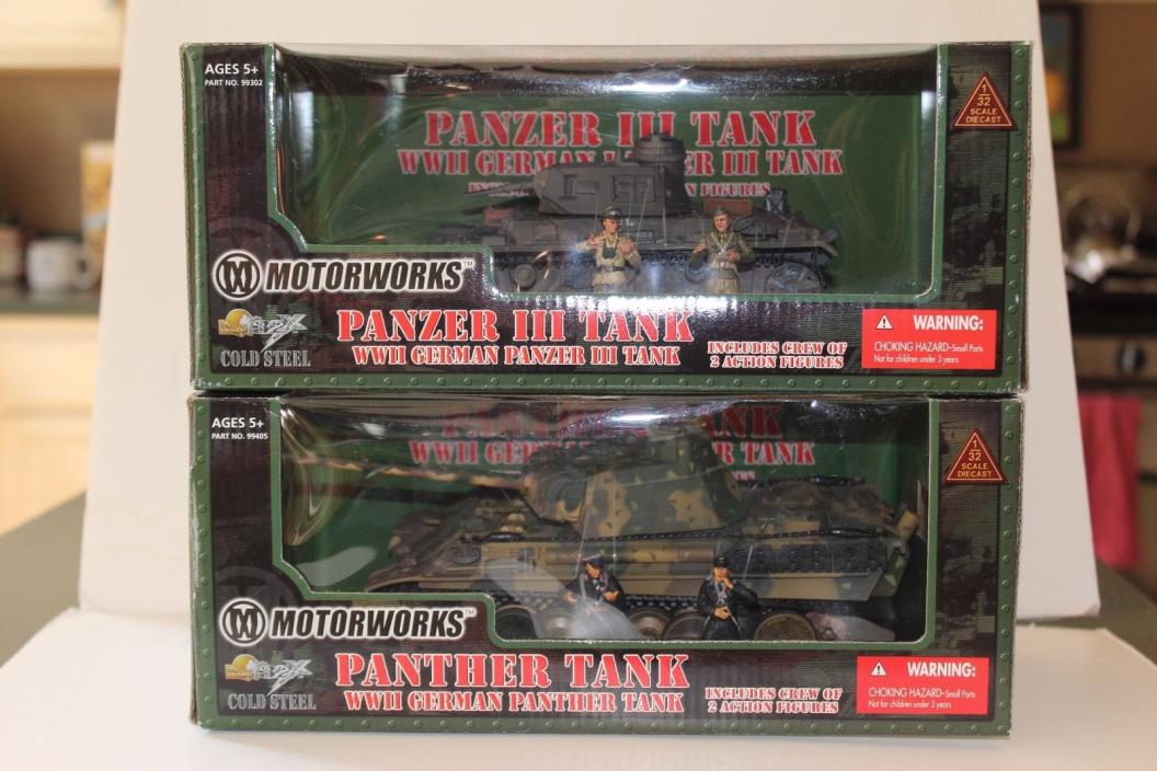 21st Century Toys Ultimate Soldier 1 32 German Panzer III & Panther Tanks NEW