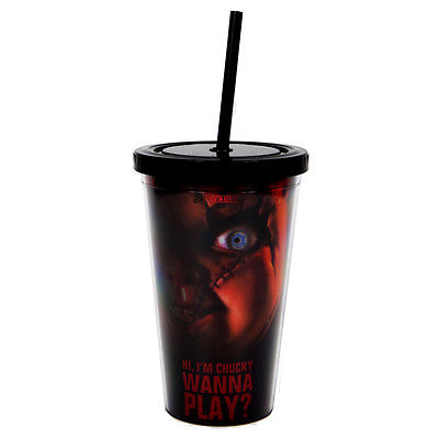 Bride of Chucky 2013 Childs Play Chucky Doll Eye Cup w Straw/ Drink Container 24