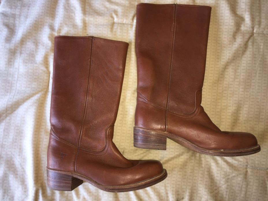 mens 10 D vintage Frye brown tall pull on western hippy campus boots