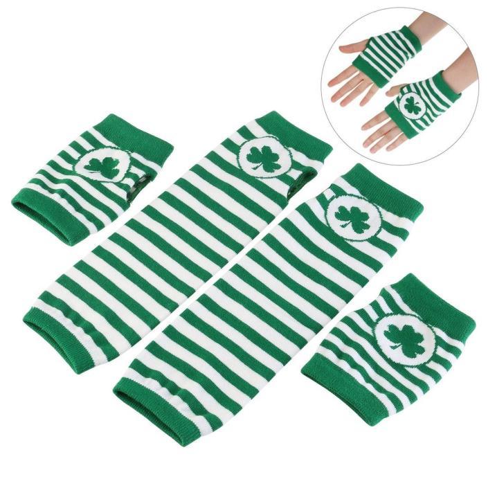 Lucky St. Patrick's Day Shamrock Gloves Fingerless  Arm Warmers 2 pair Unisex