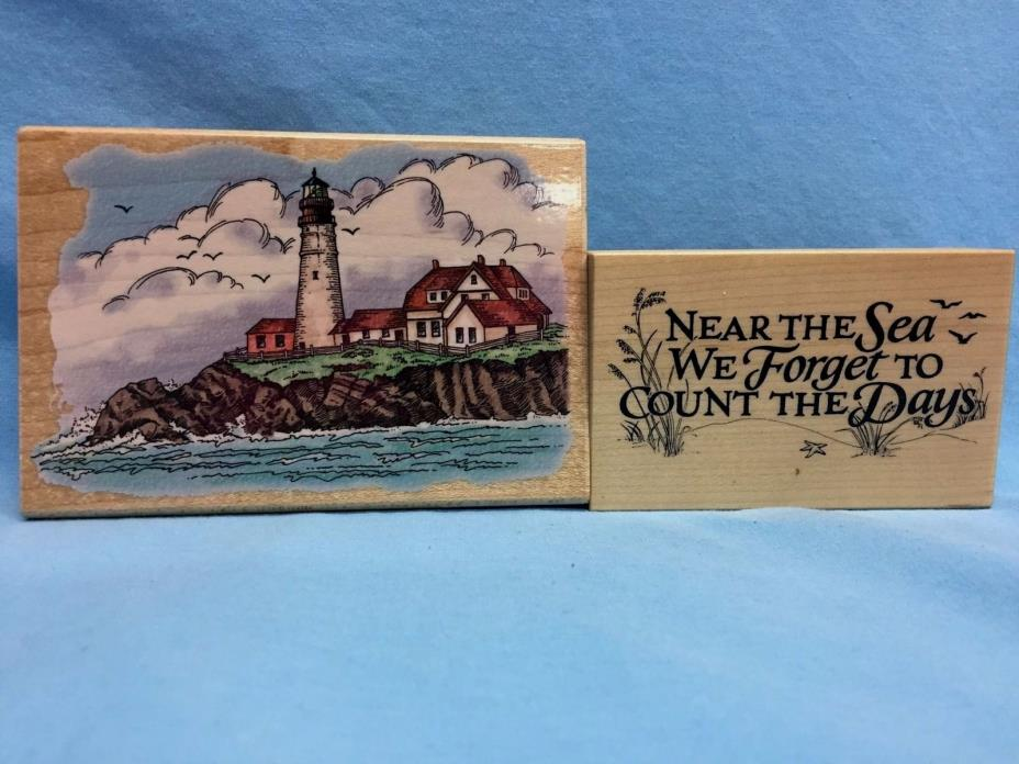 Mounted Rubber Stamps Lot Of 2 Lighthouse & Near the Sea ~ Stampendous