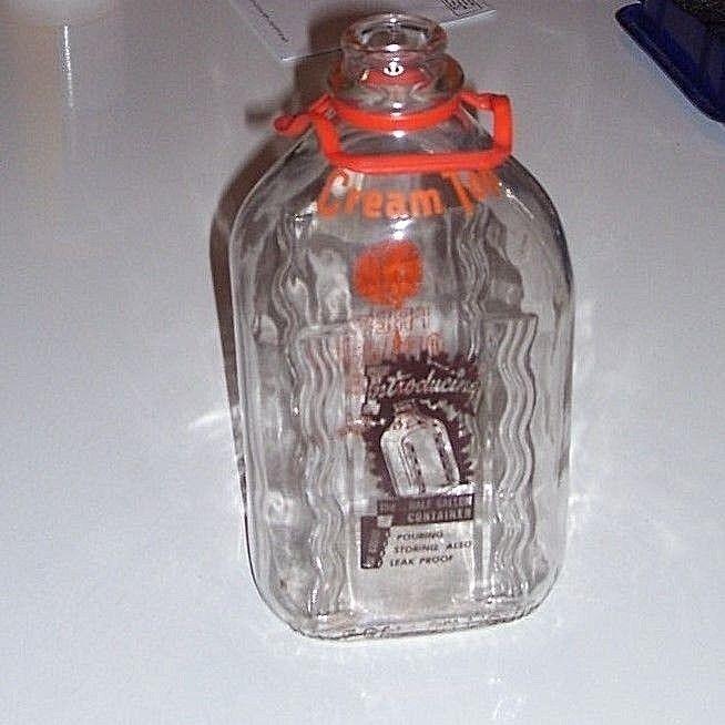 2 Color Half Gallon CREAM TOP Dairy Lancaster PA ? Milk bottle /  fruit drink