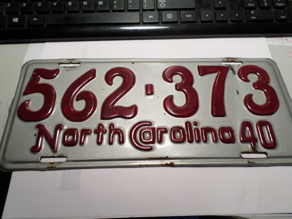 1940 North Carolina License Plate 562 373
