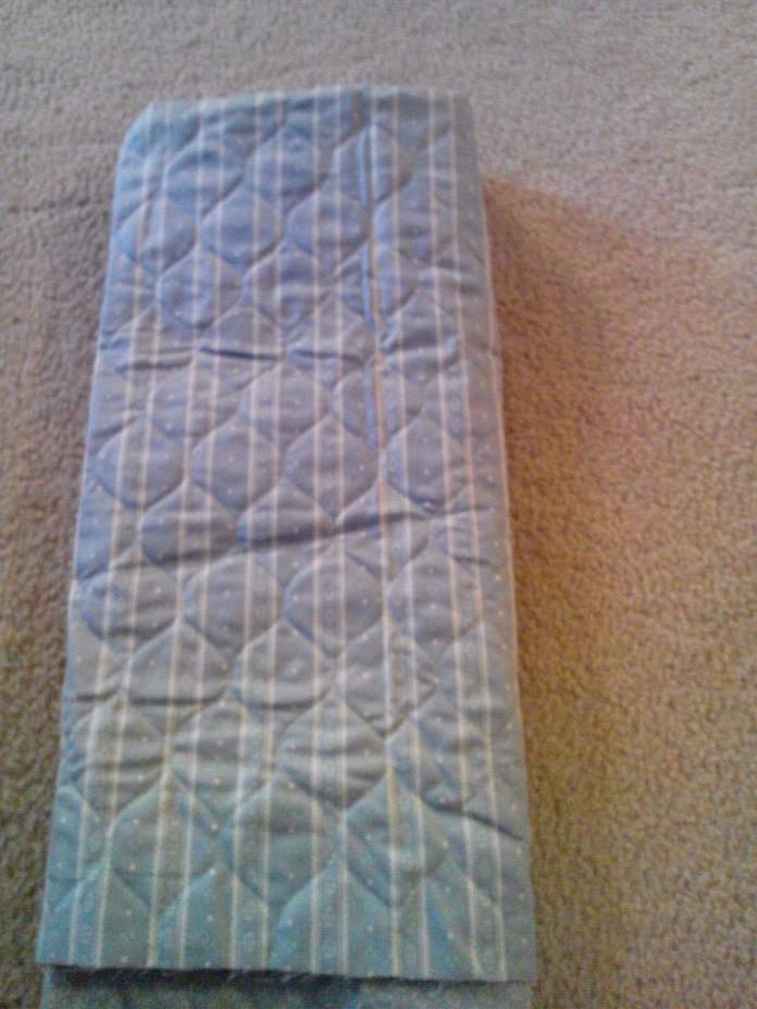 Pre-Quilted Reversible Light Blue Cotton Fabric Striped Tiny Floral 28