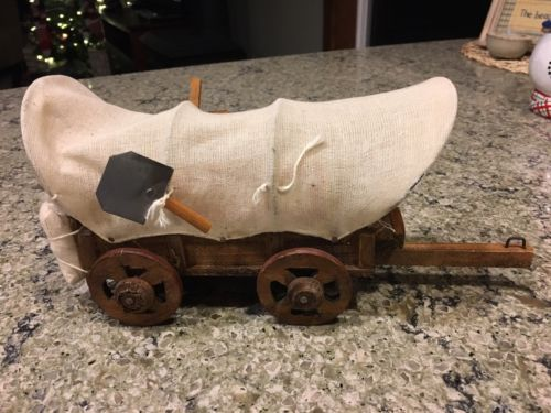 Vtg Wooden Canvas Western Cowboy Covered Wagon 6
