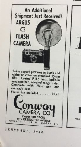 1948 ARGUS CAMERA AD  ARGUS C3 FLASH CAMERA