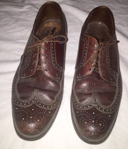 Vintage Florsheim IMPERIAL Wingtip Mens Dress Shoes 10 1/2 C Maroon Leather
