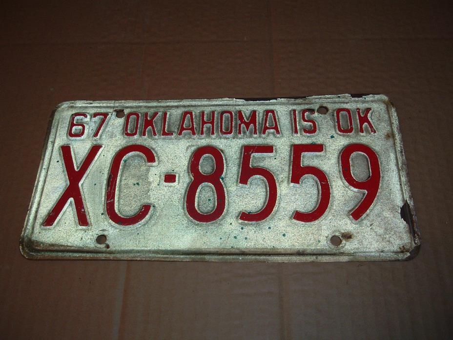 1967 Oklahoma License Plate XC-8559 car tag