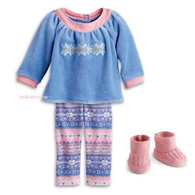 New American Girl Bitty Baby/Twins doll's Snowy Dreams Pink Pajamas~PJs Slippers