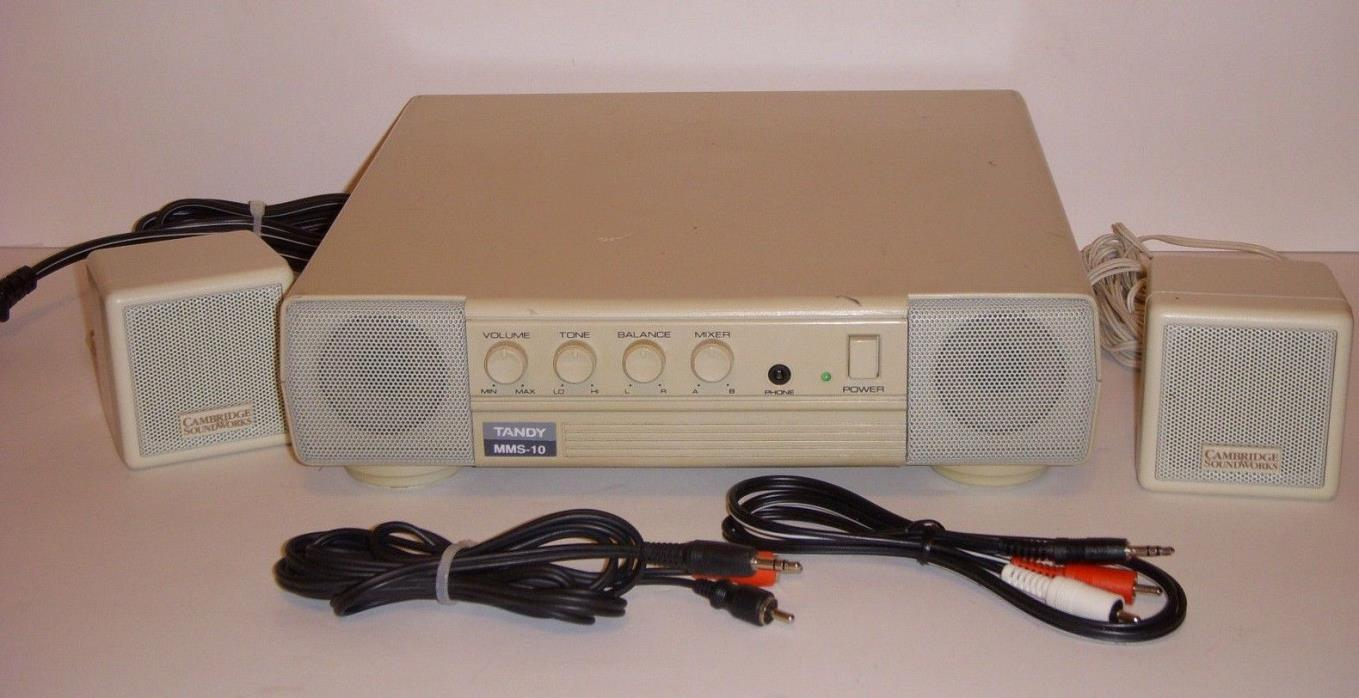 Vintage Tandy MMS-10 Stereo Amplified Speaker System for PC