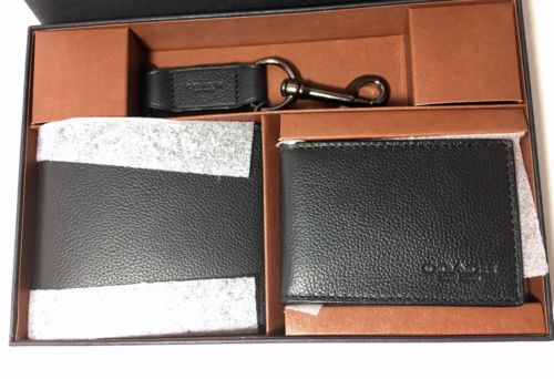 *NWT* Coach Men's BLACK Compact ID Leather Wallet Gift Set #F64118 NIB MSRP $225