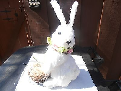 White  Easter bunny with Easter basket decor