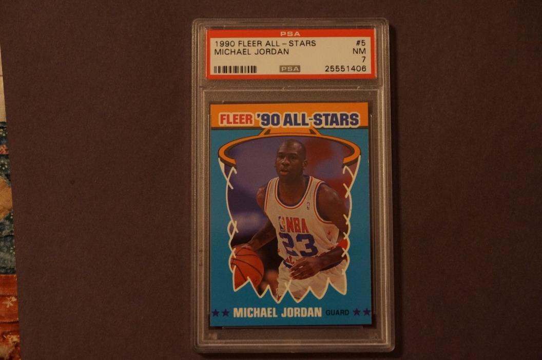 1990 Fleer All-Stars 5 Michael Jordan PSA 7 Bulls Nice Card!