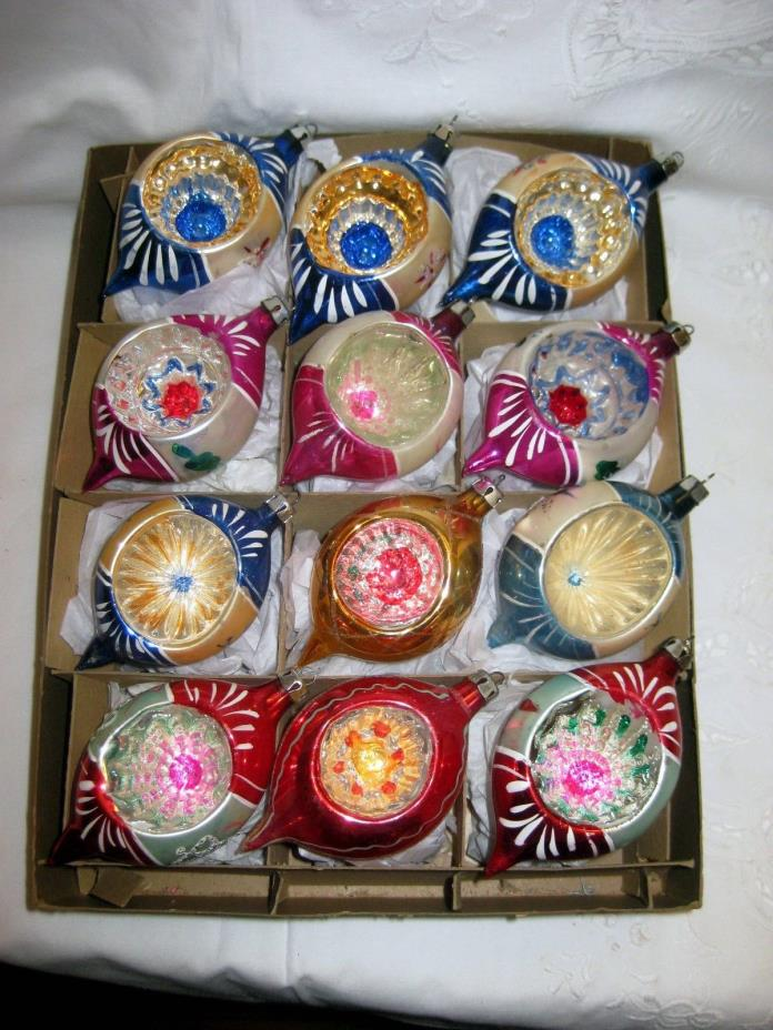 12 Vtg Polish Poland Fantasia Deep Indented Glass Christmas Ornaments Teardrops