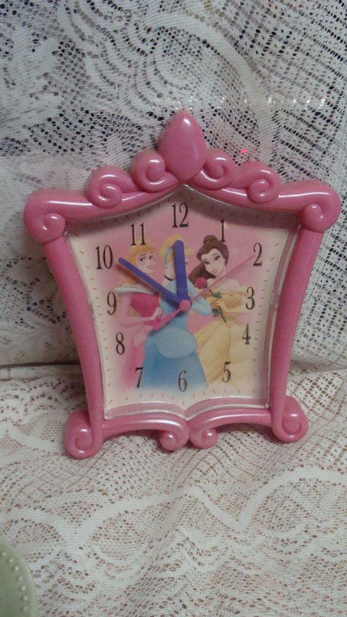 DISNEY PRINCESS  CINDERELLA BELLE SLEEPING BEAUTY WALL CLOCK PINK FRAME