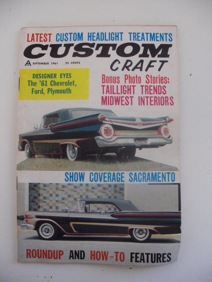 Vtg 1961 CUSTOM CRAFT Hot Rod Magazine Sept 1961 Chevy Ford Plymouth Roadster