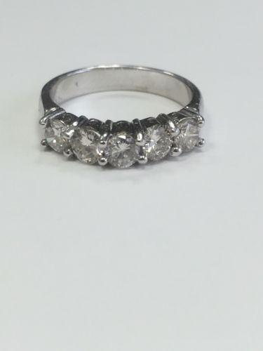 1 carat 5 Stone Diamond Ladies Band Ring 18k White Gold Genuine SI1 Diamonds