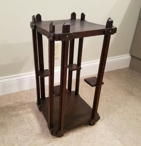 ANTIQUE STICKLEY ERA OAK PLANT STAND SIDE TABLE LAMP MISSION ARTS CRAFTS DISPLAY