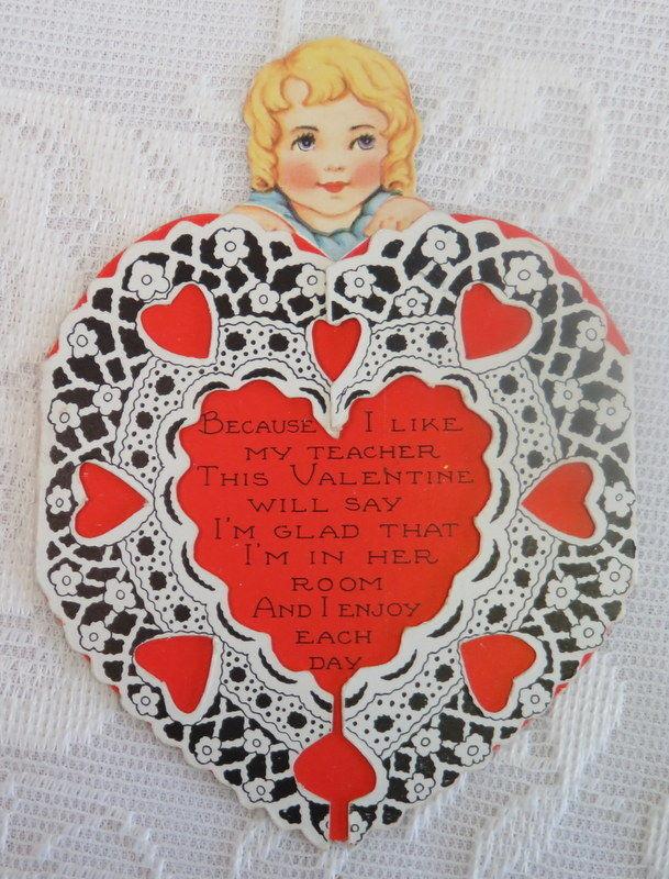 Vintage Valentine, Heart Border Folds Open, Teacher
