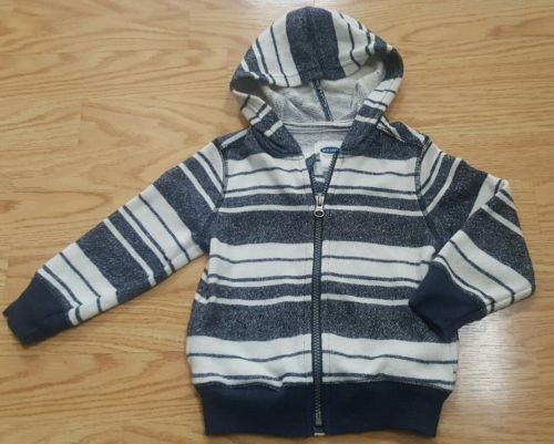 Old Navy Toddler Boys 2T Navy white striped Hoodie Sweater Zip-up EUC