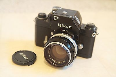 vintage nikon F 35mm Black color camera with 50mm F1.4 lens