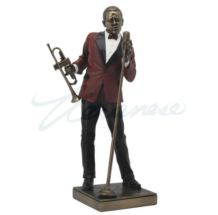 Male Singer With Trumpet Statue Jazz Band Sculpture Musician Figure - HOME DECOR