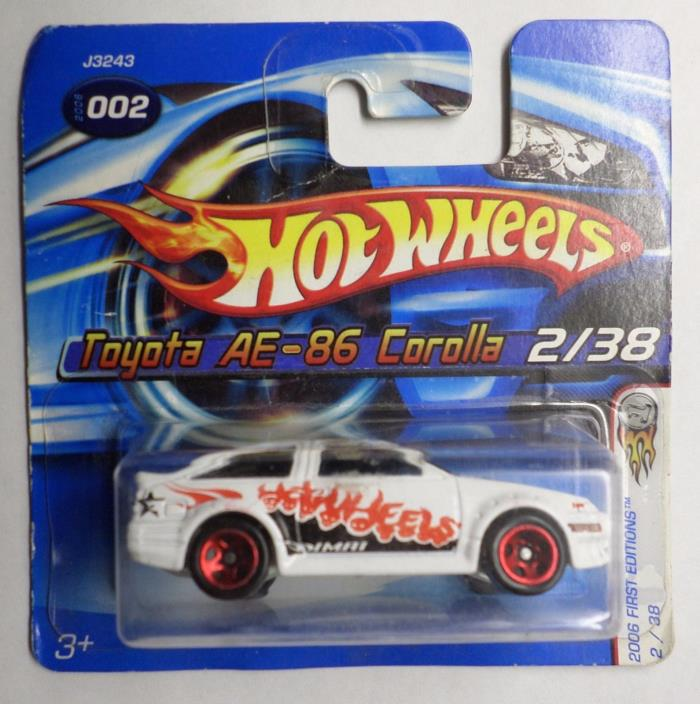 Hot Wheels 2006 First Editions Toyota AE-86 Corolla White Short Card New in Pack