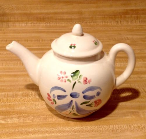 Hand Painted Pink Green Blue Teapot