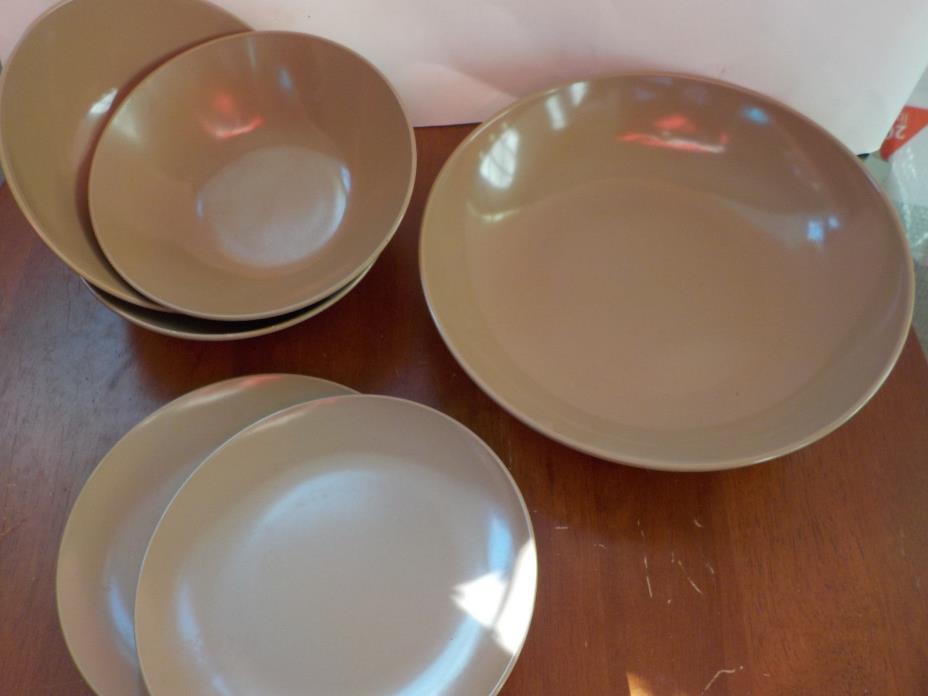 Vintage 6 Piece Melamine Melmac Dishes Brown 3 Bowls, 2 small Plates, 1 lg. bowl