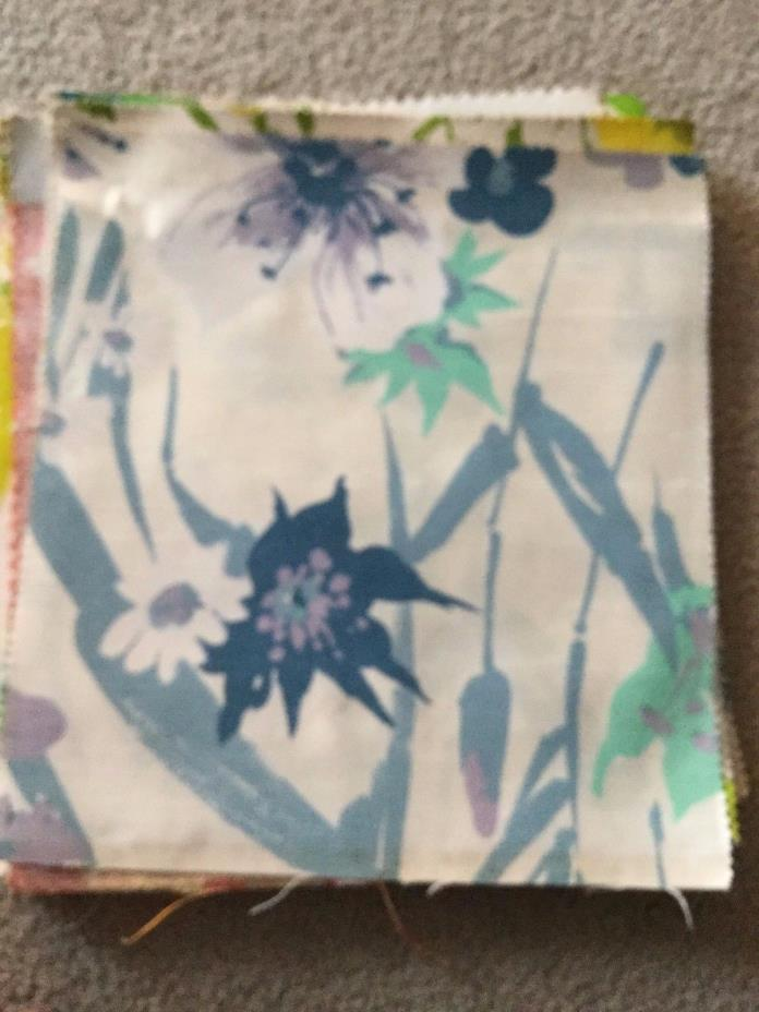 Vintage Fabric Samples 17 of them Floral Abstract Various Colors 11'