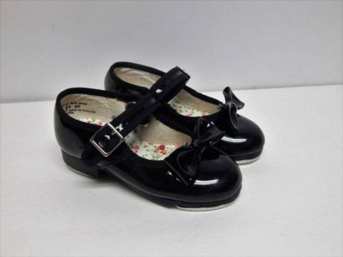 Capezio Black Tap Shoes Size 8 8W Wide Clip Bows Buckle Mary Jane Toddler