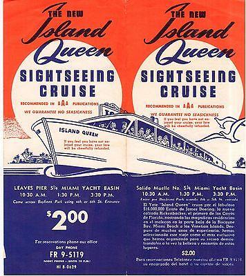 Miami, Florida Fl- The New Island Queen Sightseeing Cruise Brochure Pier 5 1/4