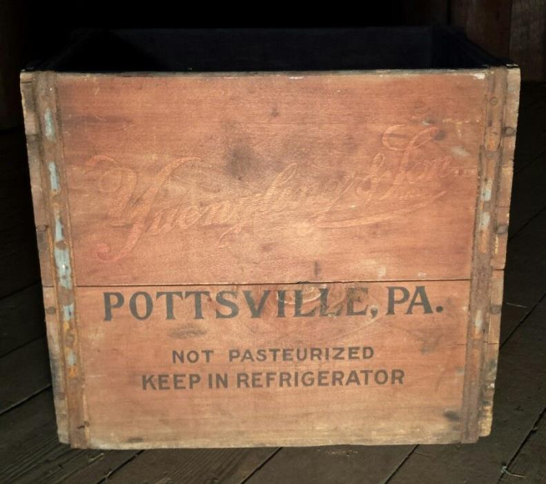 Rare Yuengling & Son Inc Pottsville PA Antique Wooden Crate Box Beer Dairy Milk