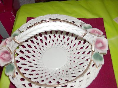 Vintage Large Capodimonte white weave  basket