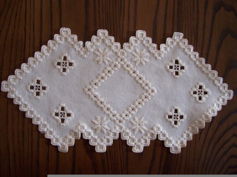 Hardanger Doily Norwegian Embroidery Ivory with Ivory
