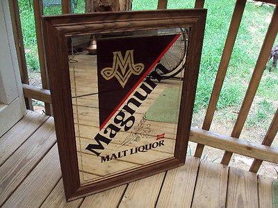 Vtg MAGNUM MALT LIQUOR By Miller Beer Mancave Bar Tavern Mirror PICK UP ONLY