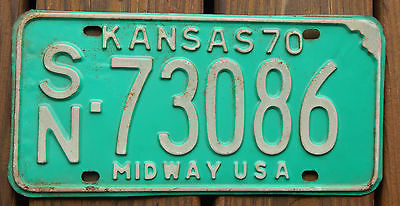 Vintage KANSAS 1970 Car License Plate with number SN73086